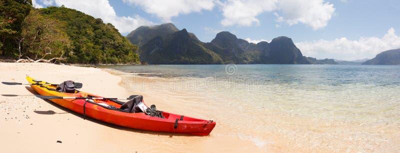 在海滩的海皮船 库存图片