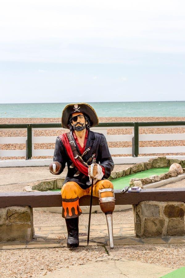在海滩的海盗雕象 库存照片
