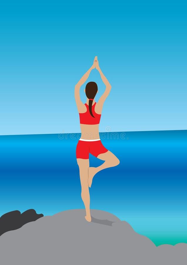在海滩的瑜伽 免版税图库摄影