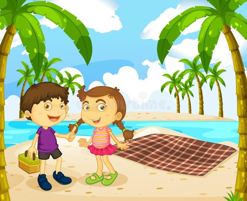在海滩的男孩和女孩野餐 向量例证