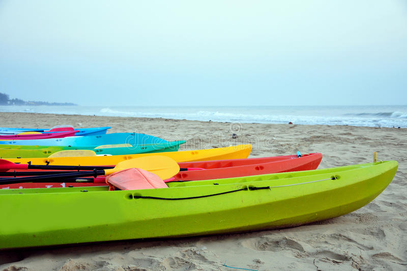 在海滩的皮船 图库摄影