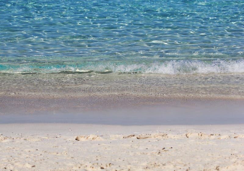 在海洋水的看法与波浪 免版税图库摄影