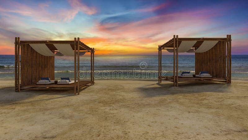 在海滩的竹帐篷 免版税图库摄影