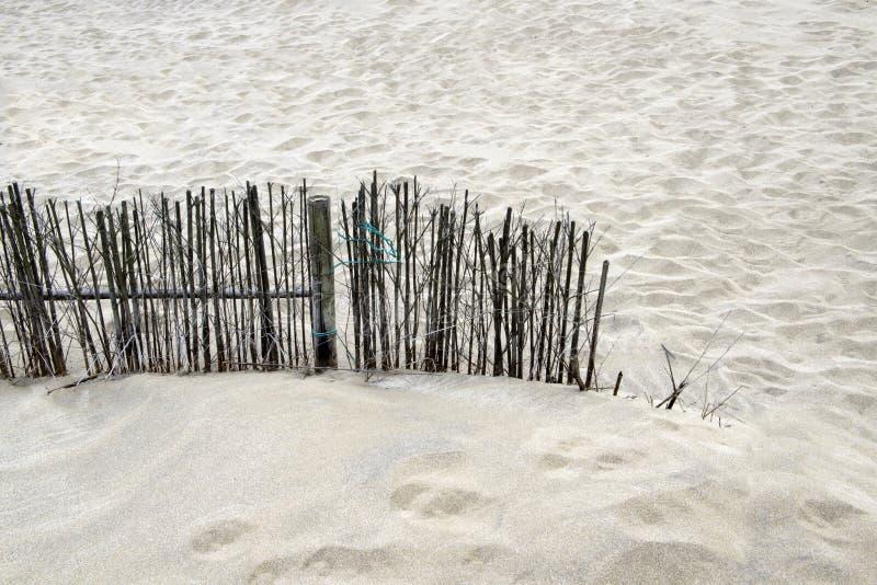 在海滩的竹木栅 免版税库存照片