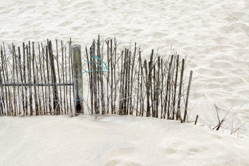 在海滩的竹木栅 图库摄影