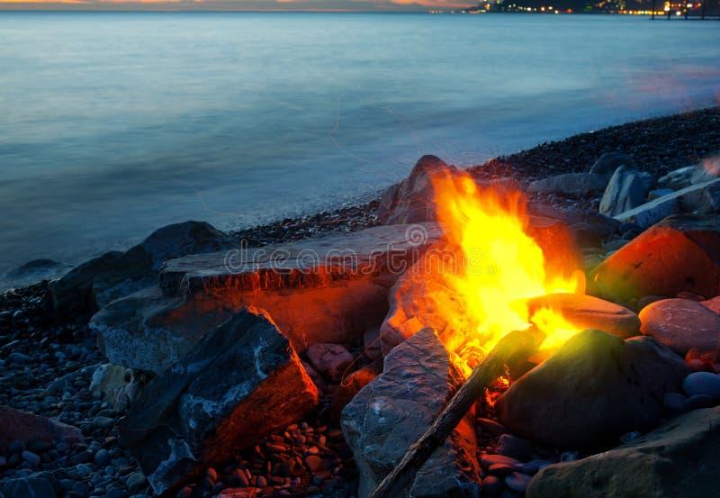 在海滩的篝火 库存图片