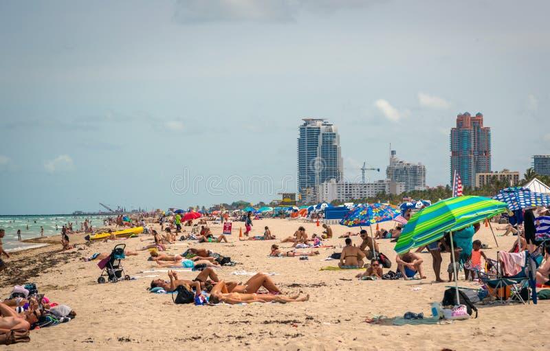 在海滩的美好的蓝天天迈阿密在佛罗里达 免版税图库摄影