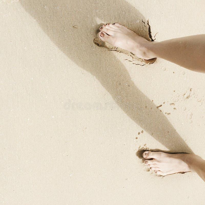 在海滩的英尺 库存照片