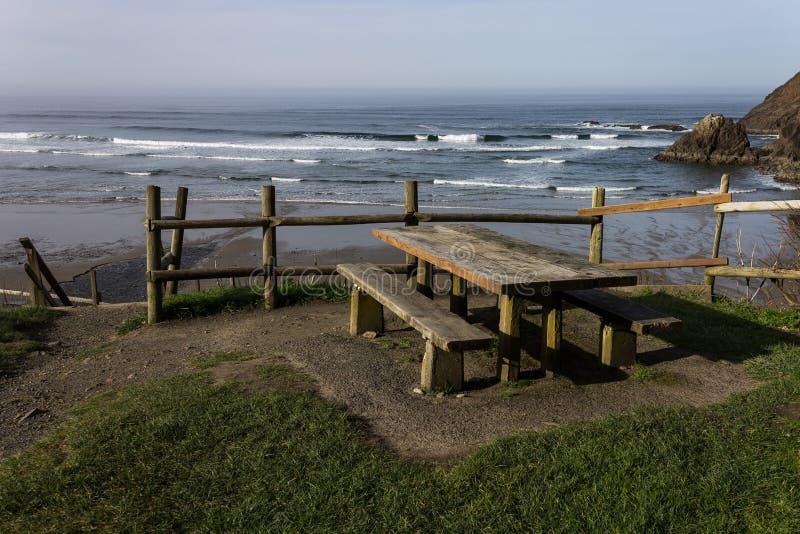在海滩的野餐长凳 免版税库存图片