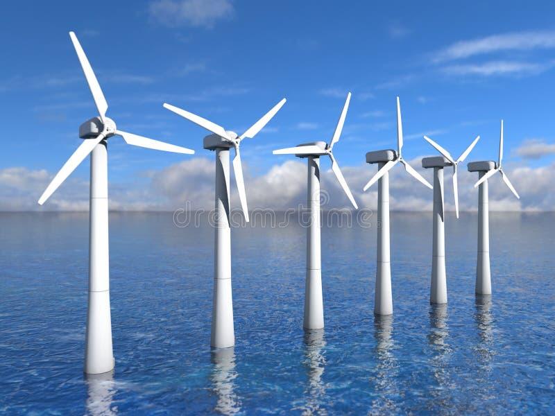 在海洋的风轮机 库存例证