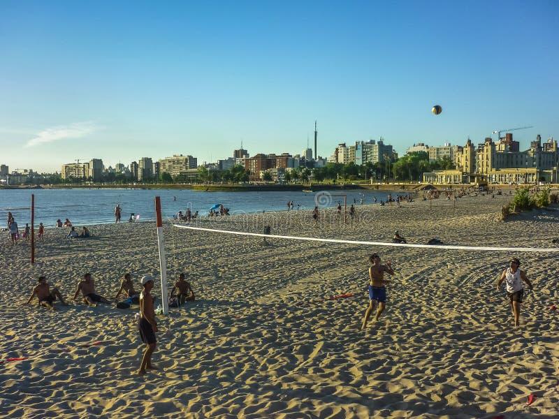 在海滩的齐射在蒙得维的亚 库存照片