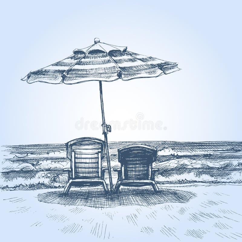 在海滩的Sunbeds和伞 皇族释放例证