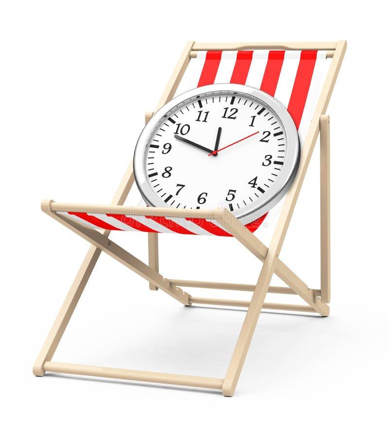 在海滩睡椅的时钟 库存例证