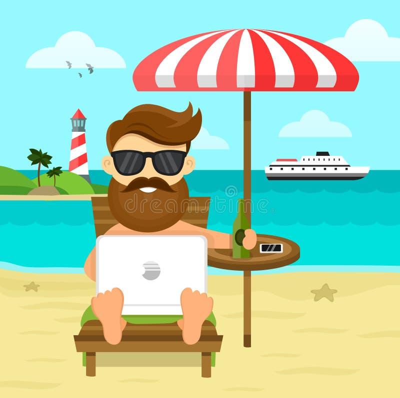 在海滩自由职业者的工作&休息平的例证 商人自由职业者的远程工作地方商人 向量例证