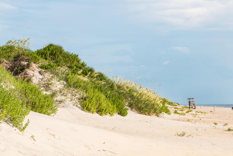 在海滩草盖的沙丘在老马头 库存照片