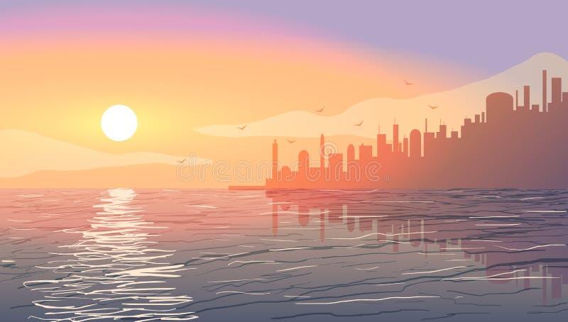 在海洋附近的城市日落的 皇族释放例证