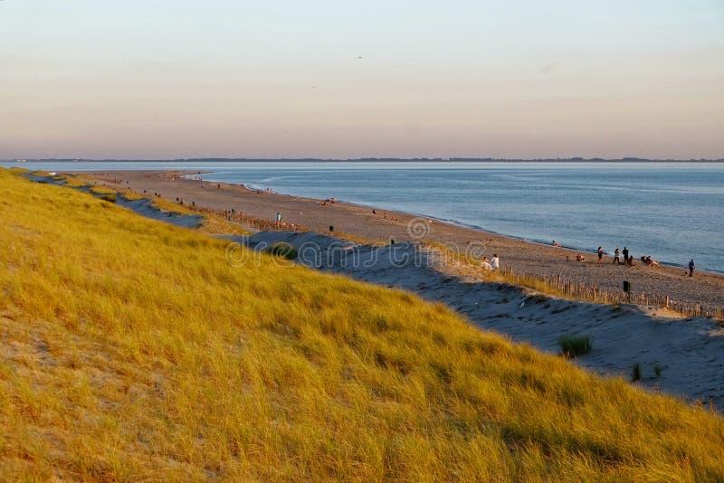 在海滩风景的日落心情 库存照片
