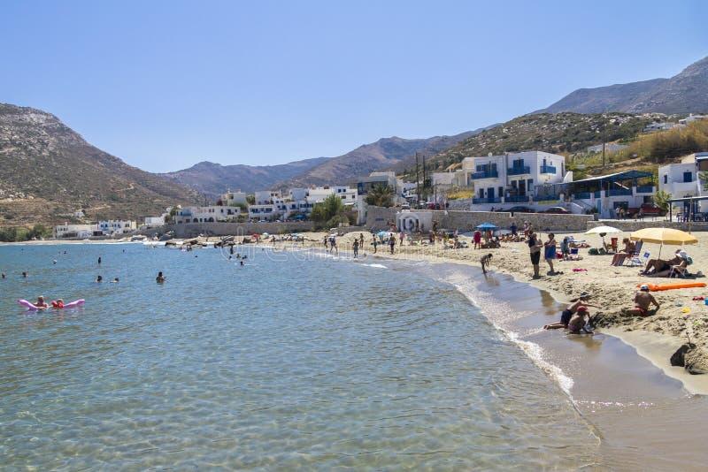 在海滩,纳克索斯,希腊的浅水区 图库摄影
