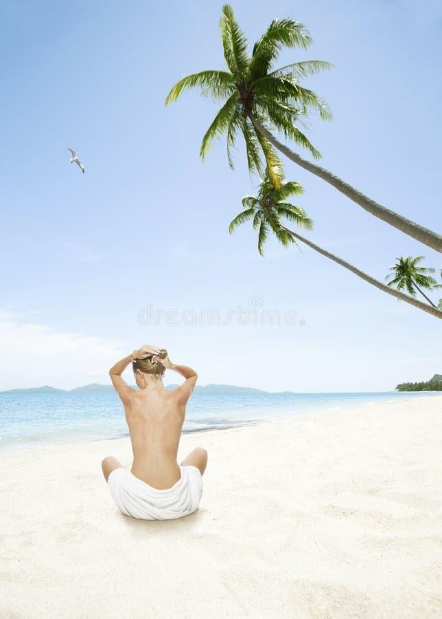 在海滩 库存图片