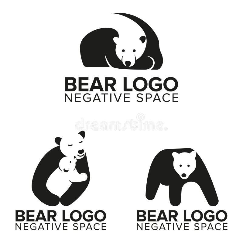 在消极空间的熊商标您的事务或您的公司的 向量例证