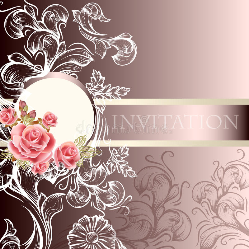在淡色口气的典雅的婚礼邀请卡片 皇族释放例证
