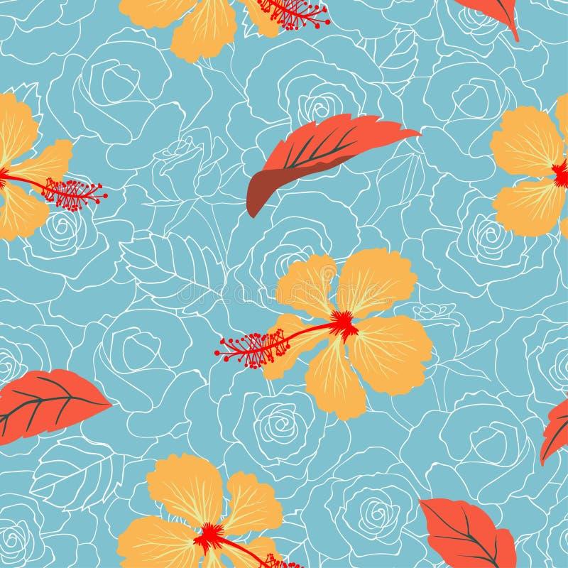 在淡色玫瑰背景的热带花卉和叶子无缝的样式装饰,时尚、织品、纺织品、印刷品或者墙纸的 向量例证