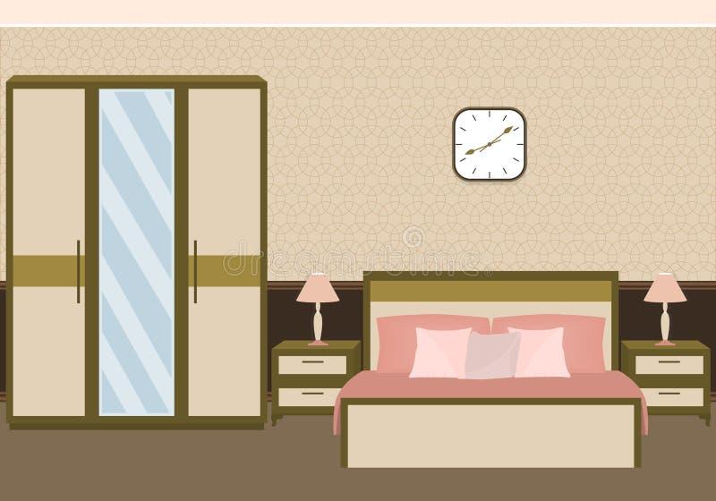 在淡色的卧室内部与家具 皇族释放例证