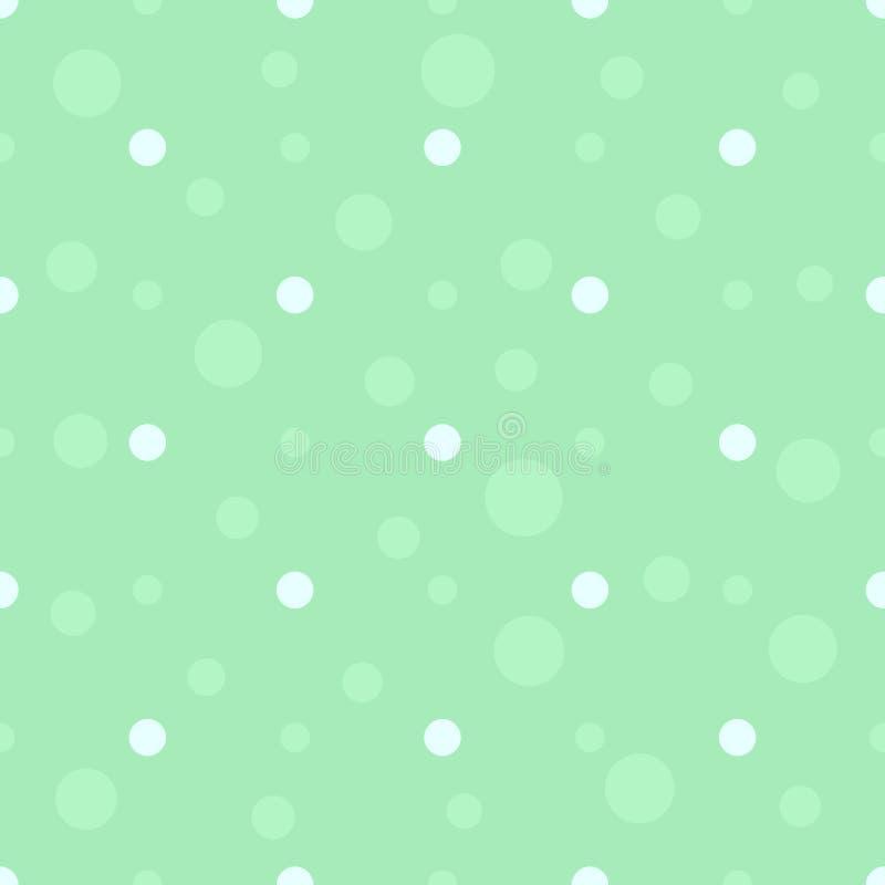 在淡色的无缝的圆点样式 绿色泡影平的背景 儿童的卧室,孩子布料纹理 向量 向量例证