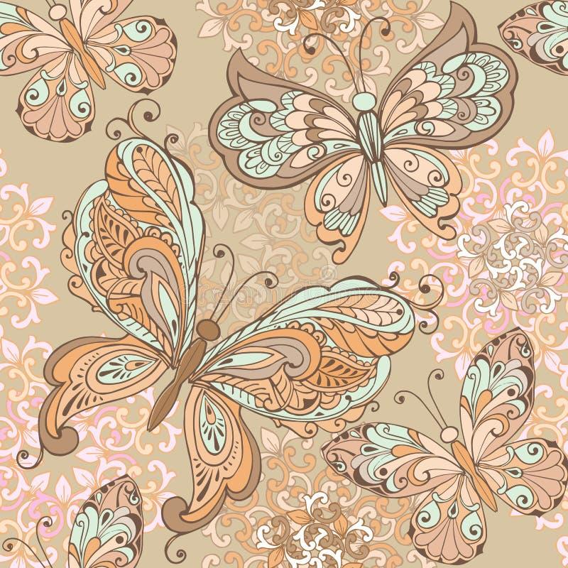 在淡色的时髦无缝的花卉图案 与装饰蝴蝶的无缝的样式在淡色 皇族释放例证
