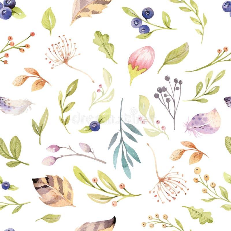 在淡色的水彩花卉绽放无缝的样式 与bloossom花和叶子, boho的无缝的背景 向量例证