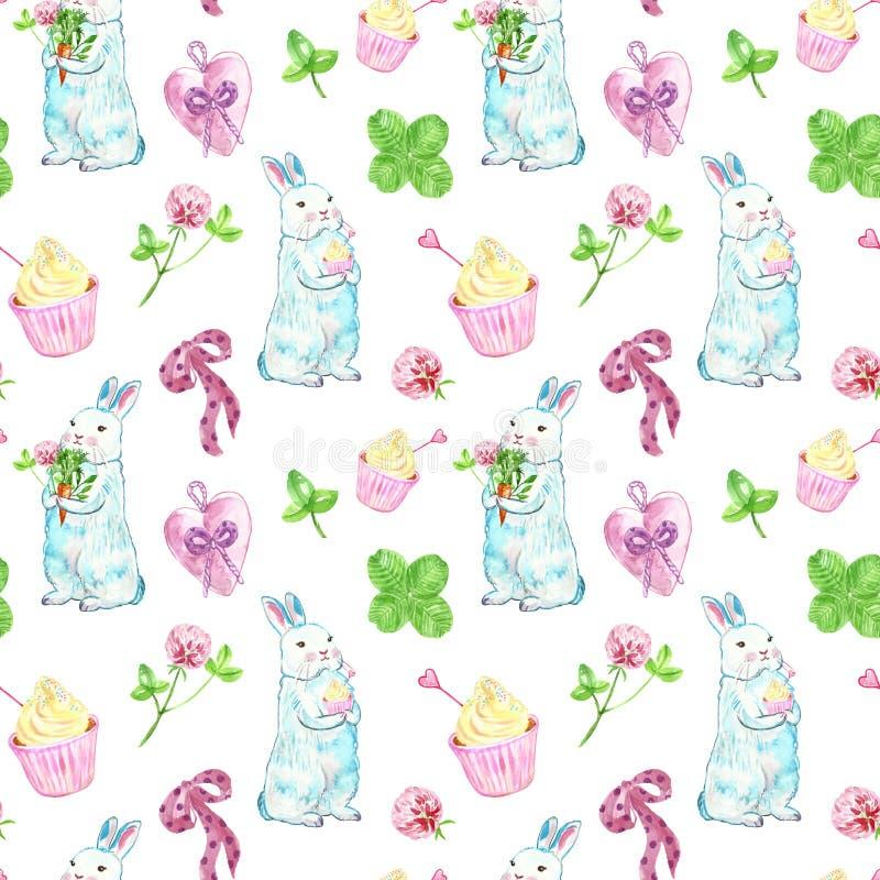 在淡色的水彩逗人喜爱的兔子无缝的样式 与蛋糕和春天花的手画婴孩兔宝宝在白色 皇族释放例证