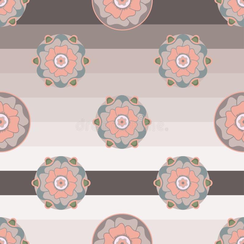在淡色的花卉无缝的样式在镶边背景 库存例证