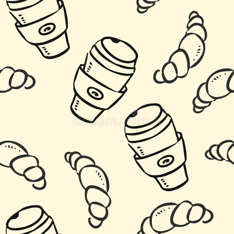 在淡色背景无缝的样式的咖啡杯和新月形面包乱画 库存例证