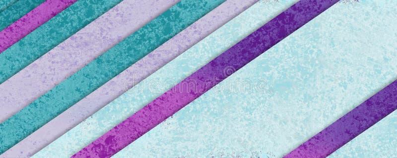 在淡色蓝绿色紫色和桃红色物质设计与形状层数,抽象背景的对角条纹样式 皇族释放例证