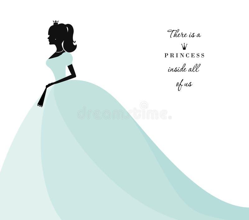 在淡色蓝色礼服的美丽的公主剪影 查出在白色 能为新娘阵雨邀请使用 向量例证