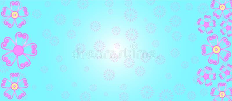 在淡色蓝色背景横幅的桃红色花 免版税库存照片