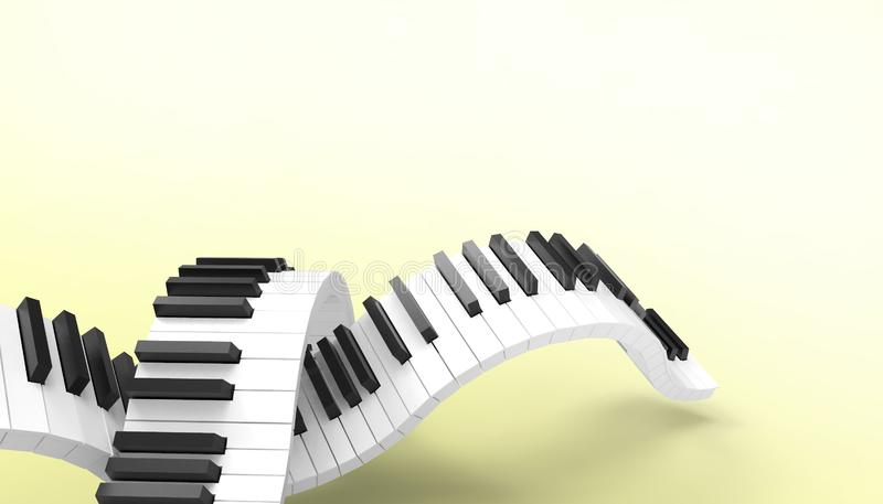 在淡色黄色背景的琴键音乐艺术概念艺术 库存例证