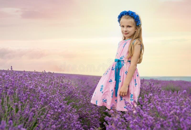 在淡紫色领域中的女孩 库存照片