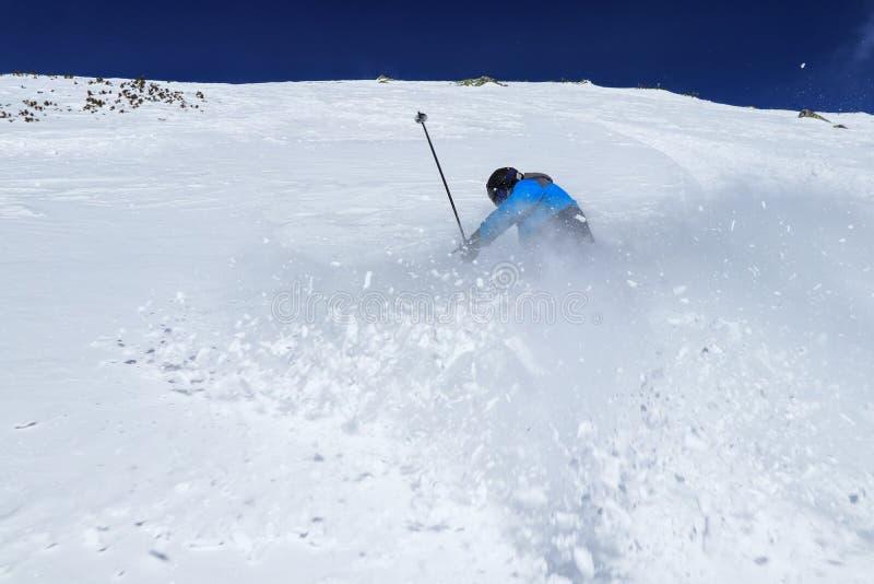 在深冬的天空上快速刹车,在美丽的一天里,清新的粉末 职业滑雪运动员的动作镜头 积极生活方式 免版税库存图片