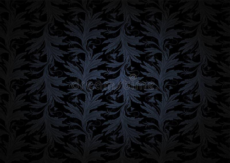 在深灰和黑的葡萄酒哥特式背景与经典花卉巴洛克式的样式 库存例证