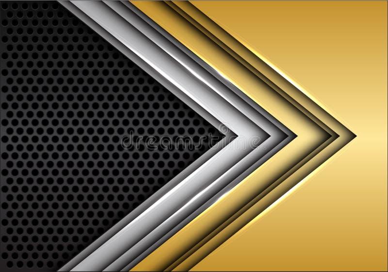 在深灰圈子滤网设计现代未来派背景传染媒介的抽象金银箭头 向量例证