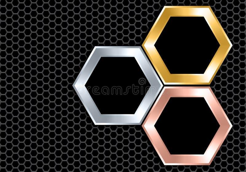 在深灰滤网设计现代豪华未来派背景纹理传染媒介的抽象银色金铜黑色六角形交叠 皇族释放例证