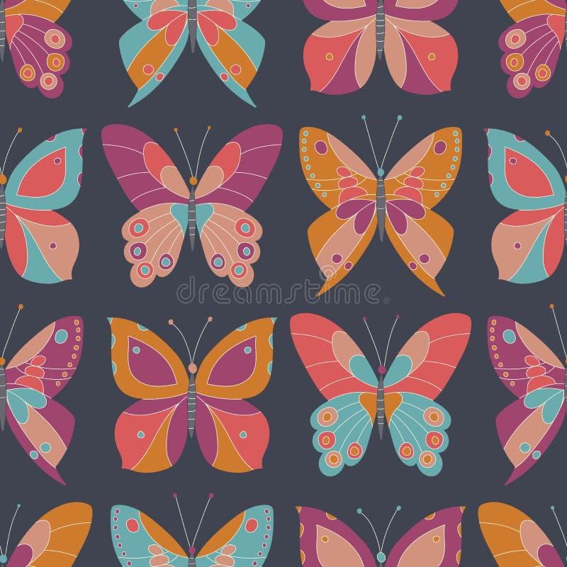 在深灰背景传染媒介无缝的样式的抽象五颜六色的蝴蝶 大胆和明亮的Insecets典雅的纹理 库存例证
