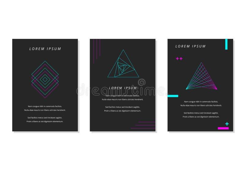 在深灰背景党海报的霓虹蓝色和桃红色图形设计 库存例证
