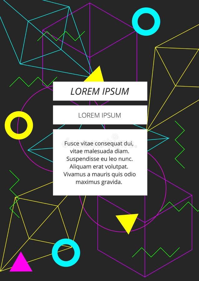 在深灰背景的最小的霓虹五颜六色的几何形状摘要 向量例证