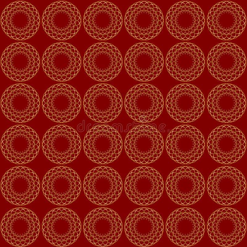 在深红背景的美好的金样式 E 免版税库存照片