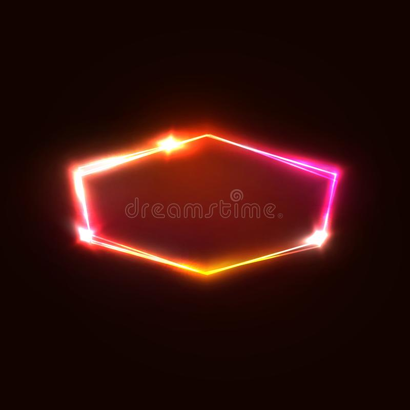 在深红背景的霓虹灯六角形 向量例证