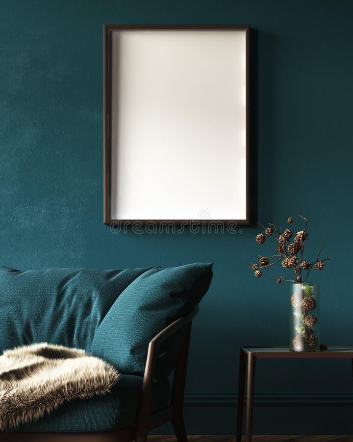 在深绿家庭内部的大模型框架与沙发、毛皮、桌和分支在花瓶 免版税库存照片