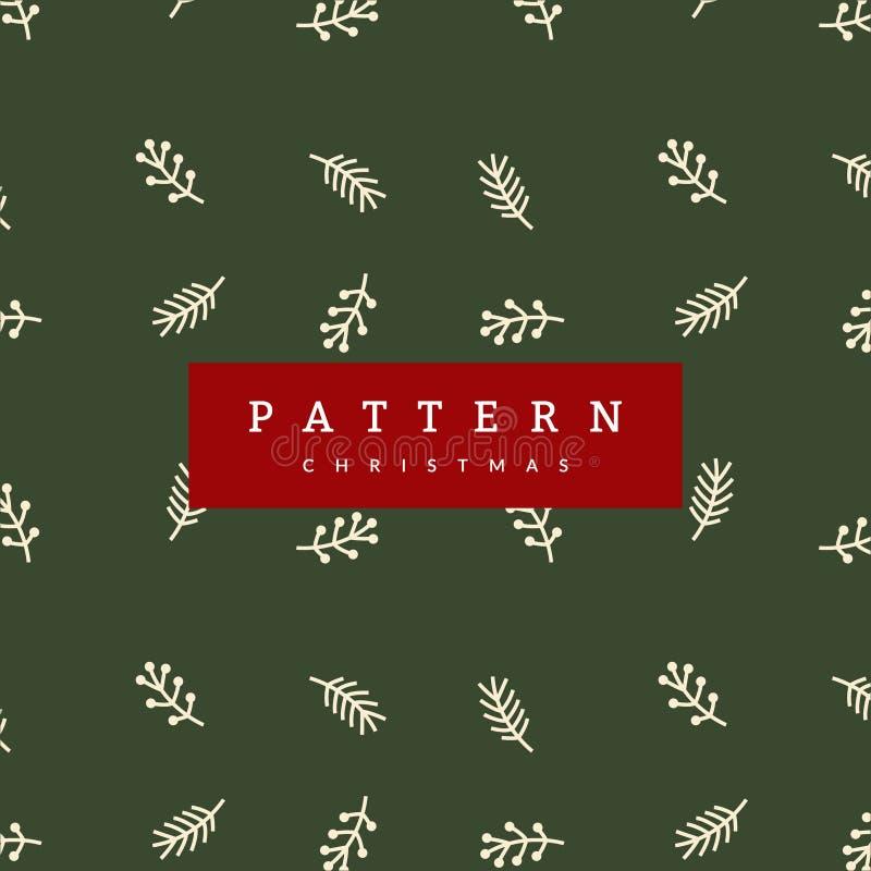 在深绿背景的圣诞节无缝的样式 皇族释放例证