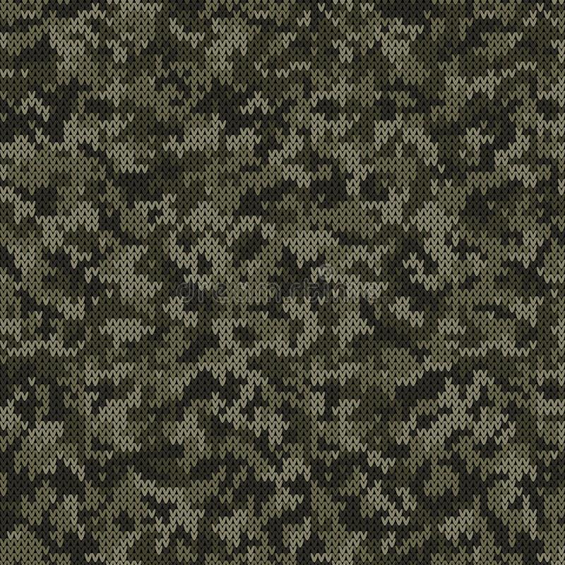 在深绿颜色的伪装样式被编织的样式 向量例证